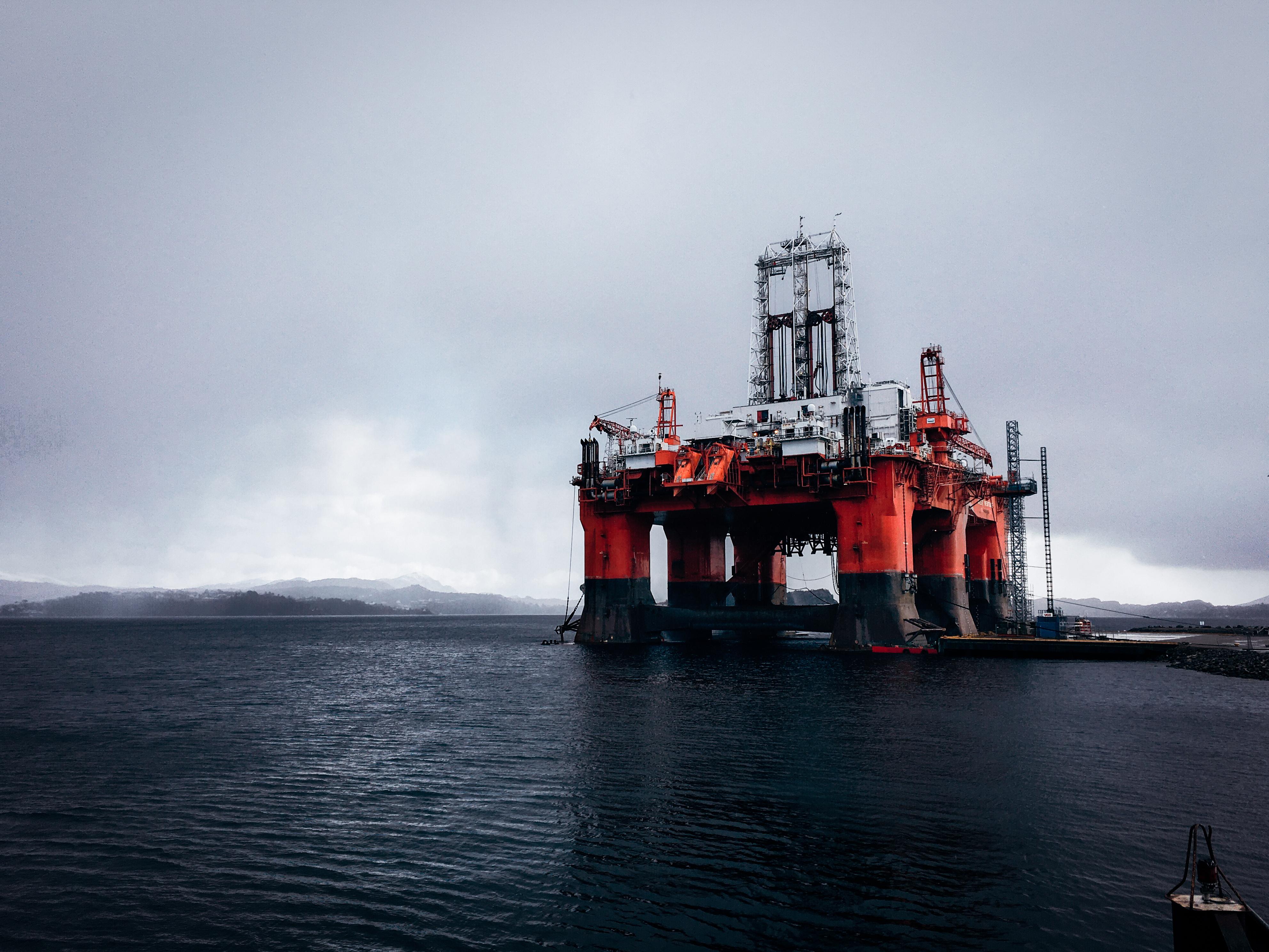 Massive oil rig platform in Norway fjords.